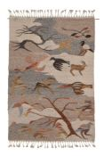 Anon., a tapestry woollen wall hanging, 1970s, scattered animals, 174cm x 124cm