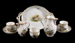 A selection of Berlin porcelain painted with domestic fowl, late 19th century, comprising: a pair of