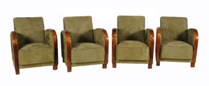 Two pairs of green suede upholstered arm chairs in Art Deco style, late 20th century, each 82cm