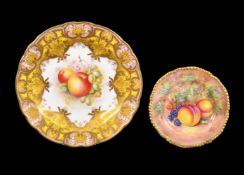 A Royal Worcester plate painted with fruit and signed by E. Townsend, date code for 1959, black
