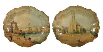 A pair of George IV painted and lacquered papier mâché trays