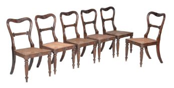 A set of six George IV simulated rosewood dining chairs