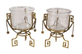 A pair of French etched glass bowls on gilt metal stands