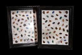 A pair of sample marble, hardstone and fossil inset white marble panels