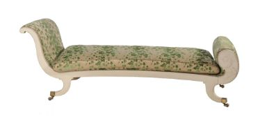 A cream painted chaise longue in Regency style