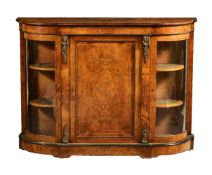 A Victorian walnut, ebonised and string inlaid credenza