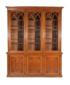 A Gothic Revival oak library bookcase