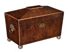 A George IV burr walnut and sycamore strung tea caddy
