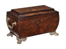 ϒ A George IV ebony banded and rosewood tea caddy