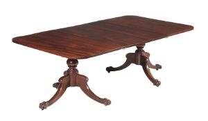 A George IV mahogany twin pillar dining table