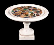 A sample marble and hardstone inset white marble tazza
