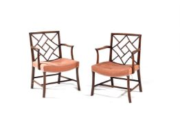A pair of George III mahogany cock pen armchairs, late 18th century