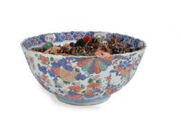 A Chinese 'Verte-Imari' punch bowl, 18th century