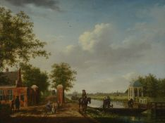 Isaac Ouwater (Dutch 1748-1793) A view of Amsterdam from the 't Spaarne canal in Slooterdijk with tr