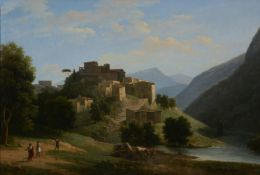 Jean-Victor Bertin (French 1767-1842)An Italianate mountainous river landscape with a hill-top town