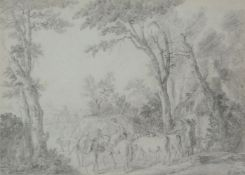 Attributed to Jean Louis De Marne (Belgian 1754-1829)A country lane with figures and animals