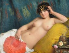 Giovani Costa (Italian 1833-1893)An odalisque with a red fan