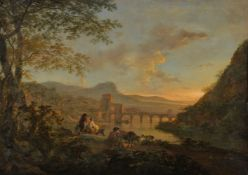 Jan Dirksz. Both (Dutch 1615/18-1652)A view of Ponte Molle at dusk with figures and animals to the f