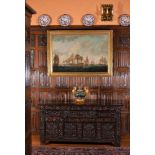 A James II carved oak chest, dated 1687