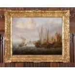 Jan Peeters the Elder (Flemish 1624-c.1677) Shipping in choppy seas off a harbour