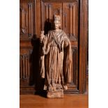 A Southern European carved wood probably chestnut, model of a saint bishop, early 18th century
