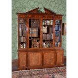 A George III mahogany breakfront library bookcase, circa 1780