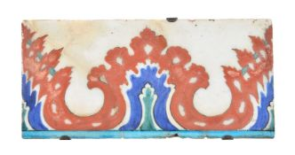 An Iznik polychrome glazed fritware border tile Ottoman Turkey 2nd half of 16th century