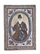 A Qajar rectangular pottery tile of Mirza Yusif Khan Mustawfi al-Mamalik Persia 19th century