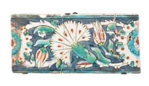An Iznik polychrome glazed fritware border tile Ottoman Turkey early 17th century
