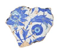 An Iznik glazed fritware fragment Ottoman Turkey first half 16th century