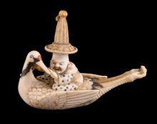 ϒ Yasuyuki: A Japanese Ivory Netsuke of Jurojin
