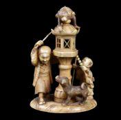 ϒ A Japanese carved Ivory Okimono of a Sarumawashi