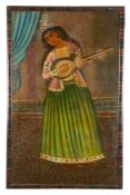 A Qajar portrait of a Female Musician Persian first half of 19th century