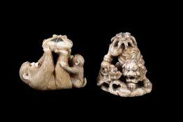 ϒ A Japanese Ivory Okimono of two macaque