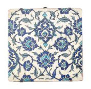 A large Damascus glazed fritware tile Ottoman Syria circa 1570-1580