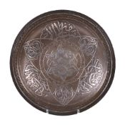 A silver inlaid and engraved brass Dish Damascus or Cairo circa 1860-1880
