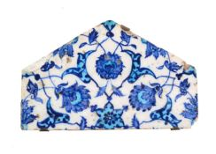 An Iznik glazed fritware half hexagon tile Ottoman Turkey circa 1540