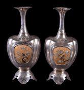 ϒ A pair of Japanese Shibayama-style vases