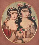 A pair of Qajar 19th century double portraits