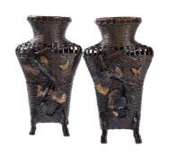 An Unusual Pair of Japanese Bronze Vases