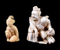 ϒ A Japanese Ivory Netsuke/Okimono carved as a musician wearing an eboshi
