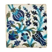 A Damascus glazed fritware tile Ottoman Syria 18th century