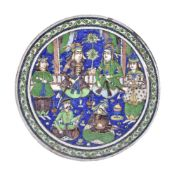 A Qajar circular pottery tile 19th century