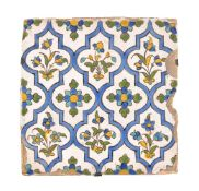 A Qajar Cuerda Seca glazed polychome glazed pottrey tile Persia probably circa 1800