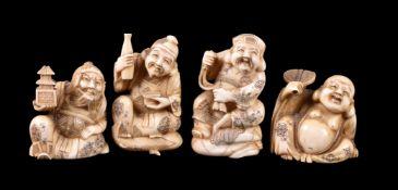 ϒ A Group of Four Walrus Ivory Carvings depicting four of the Shichifukujin