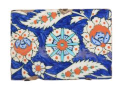 An Iznik polychrome glazed fritware border tile fragment Ottoman Turkey circa 1580