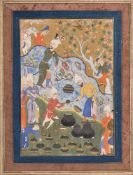 A miniature of banquet being served on a rocky hillside Safavid Persia c. 1550 – 1570