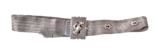An Ottoman Empire woven silver belt circa 1900 with impressed Tugha and Sha marks 87cm long