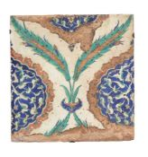 A large Iznik glazed fritware tile Ottoman Turkey circa 1560