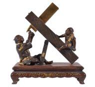 Miya-O Eisuke: A Japanese Parcel Gilt Bronze Group of a Carpenter and Boy